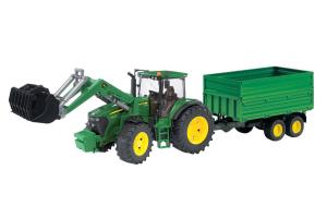 Tractor John Deere 7930 Cu Incarcator Frontal Si Remorca Cu Osii Tandem Bruder # 03055