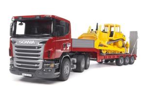 Camion Scania Seria R Cu Platforma Joasa Si Buldozer Bruder # 03555