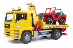 Autocamion Cu Platforma Si Masina De Teren Man Tga Bruder # 02750