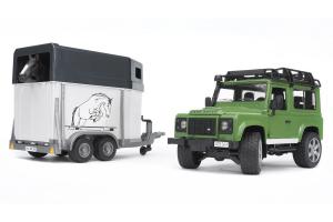 Masina Land Rover Defender Station Cu Remorca Pentru Cai Bruder # 02592