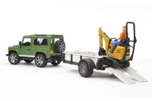 Land Rover Cu Remorca Excavator Jcb Si Muncitor Bruder # 60002593