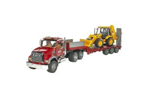Camion Mack Cu Platforma Joasa Si Cu Buldoexcavator Jcb 4cx Bruder # 02813