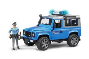Masina De Politie Land Rover Cu Politist Si Echipament Bruder # 02597