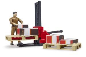 Set Figurine Logistica Ups Cu Cutii, Autoutilitare Cu 2 Paleti Si Figurina Ups Bruder # 62210