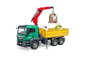 Camion Man Tgs Krank Cu 3 Containere Pentru Deseuri Bruder # 03753