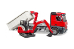Camion Mb Arocs Cu Container Rotund Si Miniexcavator Bruder # 03624