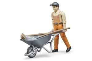 Set Figurine Muncitori Comunali Cu Maturi, Salopete, Sepci Lopeti Si Carucioare Bruder # 62130