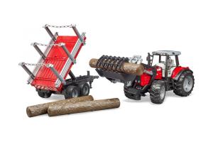 Tractor Massey Ferguson Cu Incarcator Frontal Si Remorca Forestiera Bruder # 02046