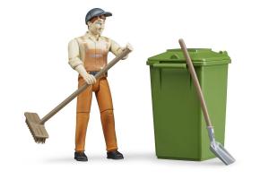 Set Figurine Colectare Gunoi: Maturi Gunoieri Cu Salopete Si Sepci, Containere Bruder # 62140