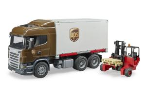 Camion Scania Ups Cu Container Si Stivuitor Portabil Bruder # 03581